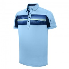 Pin High Men's Alfred Polo Shirt - Powder Blue/ True Navy