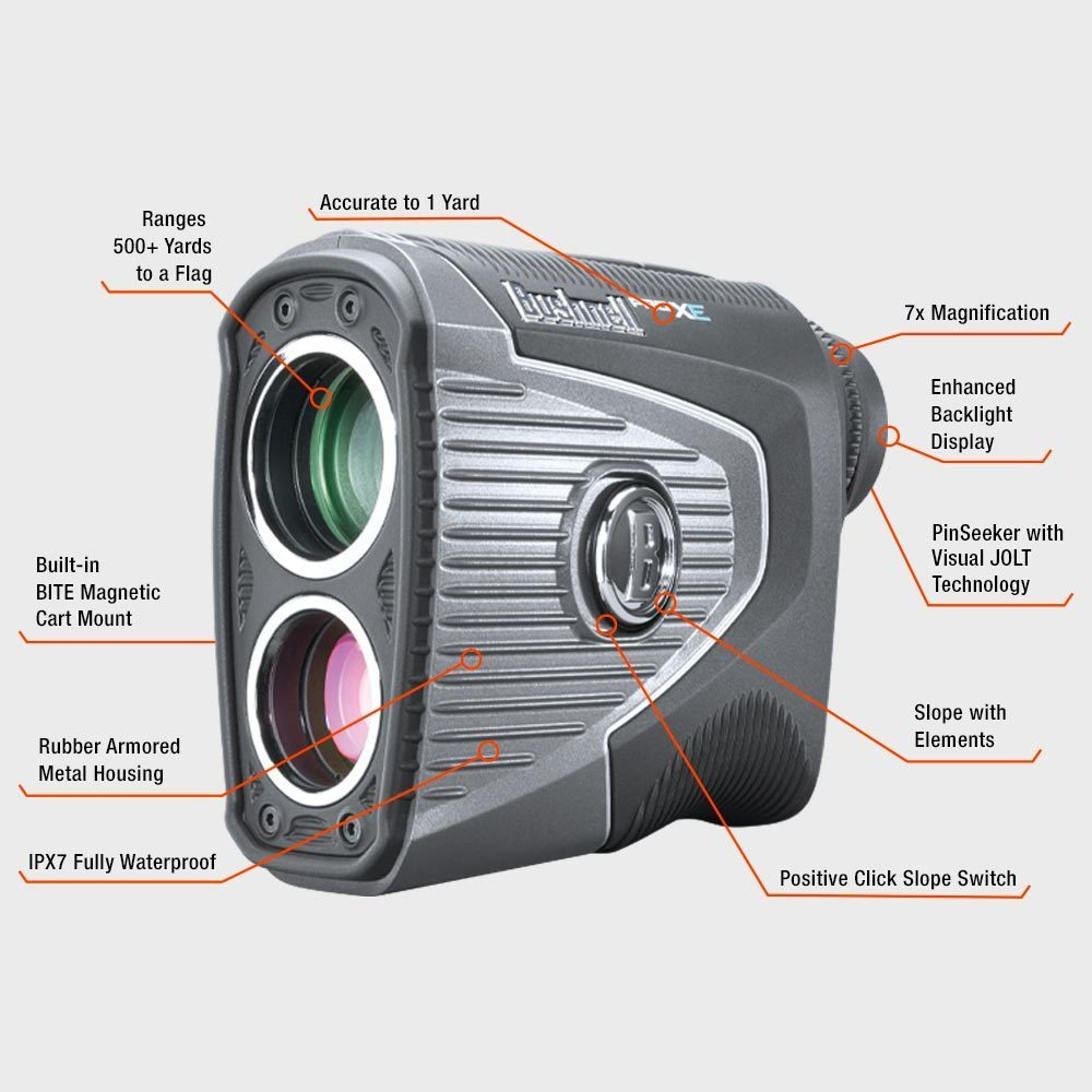 Bushnell golf laser rangefinder pro xe 201950 feature annotations  41250.1552609518